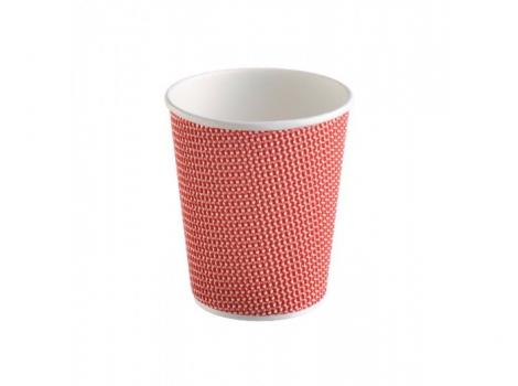 2-й бумажный стакан для кофе 240 мл красный (100 шт)