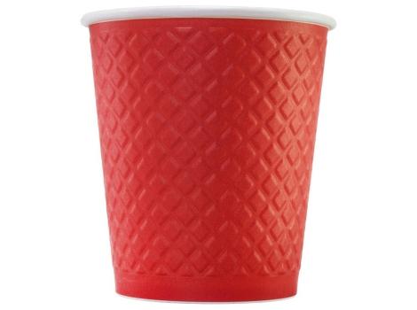 Бумажный стакан для кофе 250 мл рифленый КРАСНЫЙ (25 шт)