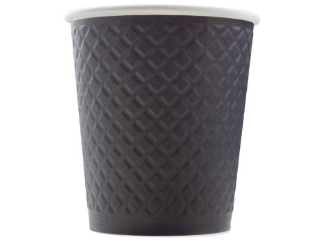 Бумажный стакан для кофе 250 мл рифленый ЧЕРНЫЙ (25 шт)