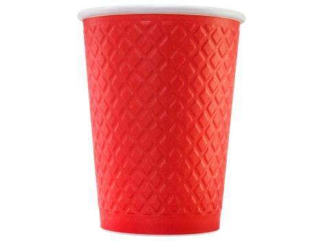 Бумажный стакан для кофе 300 мл рифленый КРАСНЫЙ (25 шт)