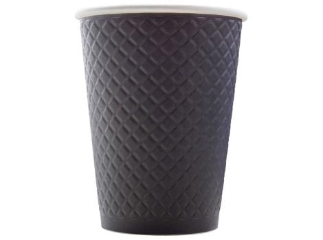 Бумажный стакан для кофе 300 мл рифленый ЧЕРНЫЙ (25 шт)