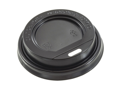 Крышка для стакана диаметр 90мм без клапана, черная (100 шт)