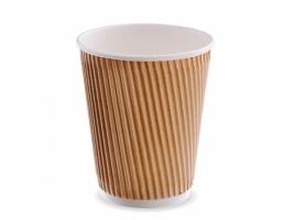 Стакан бумажный трехслойный для кофе 360 мл, крафт (25 шт)