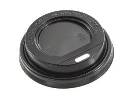 Крышка для стакана диаметр 80мм с питейником, черная (100 шт)